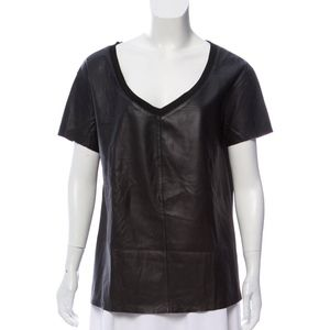 Elizabeth and James Black Leather Top